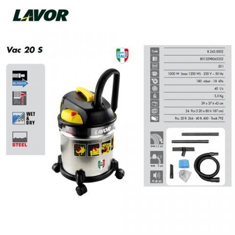 LAVOR ASPIRADORA VAC 20 S - 1200W MAX. 20 L