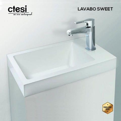CTESI LAVABO SWEET DE CARGA MINERAL 40X20 BLANCO