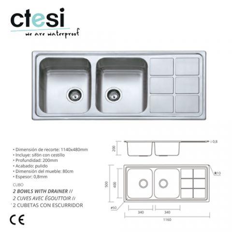 CTESI FREGADERO CUBO ENCASTRE 2S+1E 1160X500X200