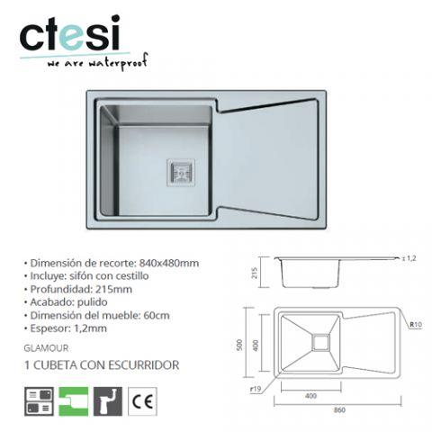 CTESI FREGADERO GLAMOUR 1S+1E 860x500x215