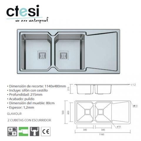 CTESI FREGADERO GLAMOUR 2S+1E 1160x500x215